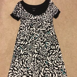 New Direction size 6 dress black/white/teal